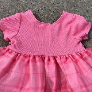 Ashley Ann Pink Plaid Tulle Dress Flowers 12M